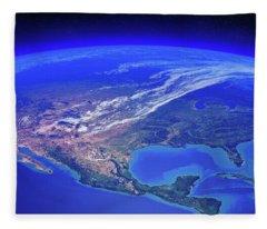 North America Seen From Space Fleece Blanket