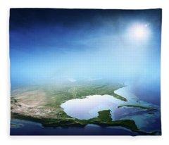North America Sunrise Aerial View Fleece Blanket