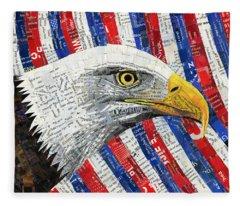 North American Bald Eagle Fleece Blanket