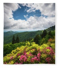 North Carolina Appalachian Mountains Spring Flowers Scenic Landscape Fleece Blanket