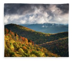 North Carolina Mountains Asheville Nc Autumn Sunrise Fleece Blanket