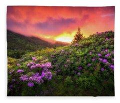 North Carolina Mountains Outdoors Landscape Appalachian Trail Spring Flowers Sunset Fleece Blanket