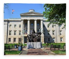 North Carolina State Capitol Building With Statue Fleece Blanket