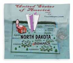 North Dakota Fun Map Fleece Blanket