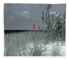 North Muskegon Lighthouse  In Michigan Select Color 2 Fleece Blanket