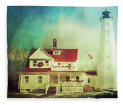 North Point Lighthouse Keeper's Quarters Fleece Blanket