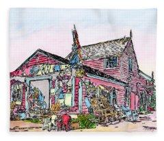 North Shore Kayak Shop, Rockport Massachusetts Fleece Blanket