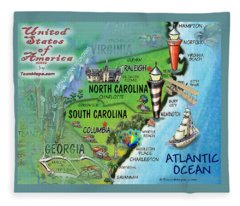 North South Carolina Fun Map Fleece Blanket