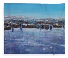 Northern Fishing Village Fleece Blanket