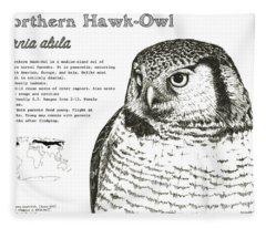 Northern Hawk-owl Infographic Poster Fleece Blanket