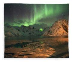 Northern Light In Lofoten, Nordland 1 Fleece Blanket