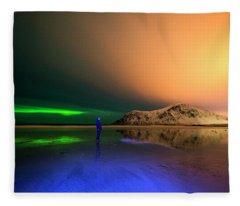 Northern Light In Lofoten, Nordland 4 Fleece Blanket