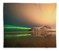 Northern Light In Lofoten Nordland 5 Fleece Blanket