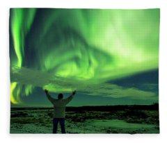 Northern Light In Western Iceland Fleece Blanket