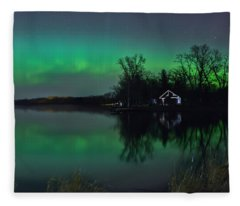 Northern Lights At Gull Lake Fleece Blanket