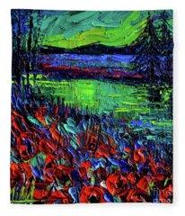 Northern Lights Embracing Poppies Fleece Blanket