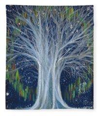 Northern Lights Tree By Jrr Fleece Blanket
