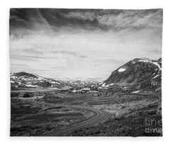 Norway Landscape In Black And White Fleece Blanket