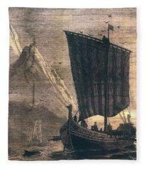 Norwegian Viking Longship Fleece Blanket