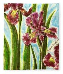 Nostalgic Irises Fleece Blanket