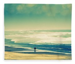 Nostalgic Oceanside Oregon Coast Fleece Blanket