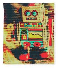 Nostalgic Tin Sign Robot Fleece Blanket