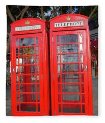 Not Quite Identical Twin Phone Boxes In Gibraltar Fleece Blanket