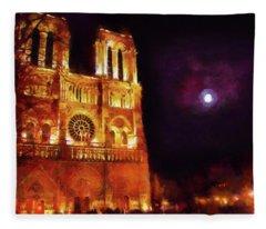 Notre Dame In The Autumn Moonlight Fleece Blanket