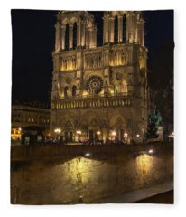 Notre Dame Night Painterly Fleece Blanket