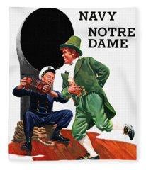 Notre Dame V Navy 1954 Vintage Program Fleece Blanket