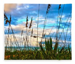 November Day At The Beach In Florida Fleece Blanket