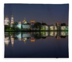 Novodevichy Convent At Night Fleece Blanket