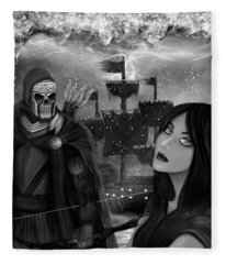 Now Or Never - Black And White Fantasy Art Fleece Blanket