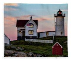 Nubble Lighthouse At Dusk  Fleece Blanket