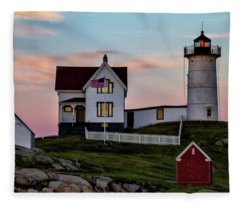 Nubble Lighthouse At Dusk  Fleece Blanket