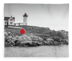 Nubble Lighthouse In Color And Black And White Fleece Blanket