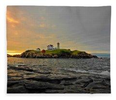 Nubble Lighthouse Fleece Blanket
