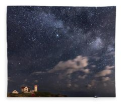 Nubble Lighthouse Under The Milky Way Fleece Blanket