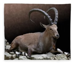 Nubian Ibex Portrait Fleece Blanket