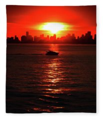 Nuclear Miami Sunset Fleece Blanket