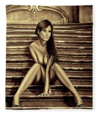 Nude City Beauty Sepia Fleece Blanket