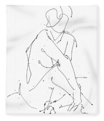 Nude-female-drawing-19 Fleece Blanket