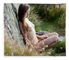 Nude Girl In The Nature Fleece Blanket
