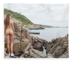 Nude Girl On Rocks Fleece Blanket