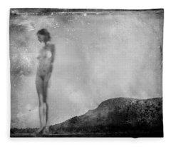 Nude On The Fence, Galisteo Fleece Blanket