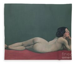 Nude Stretched Out On A Piece Of Cloth Fleece Blanket