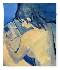 Nude With Nose In Book Fleece Blanket