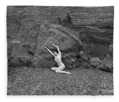 Nude Woman Pulling Shape By Rocks Fleece Blanket
