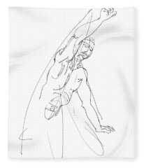 Nude_male_drawing_25 Fleece Blanket