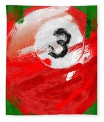 Number Three Billiards Ball Abstract Fleece Blanket